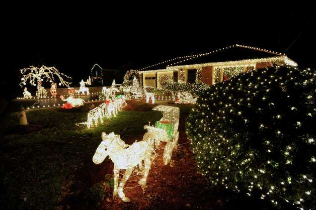 The Christmas display at the home of Tresa Candelmo and her fiancé, Michael Pavin Jr., at 89 Laddins Rock Road, Old Greenwich, Friday, Dec. 23, 2011. Photo: Bob Luckey / Greenwich Time