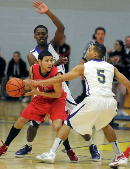 Schenectady's Chris Verestin looks to pass during their boy's high school basketball game against CB