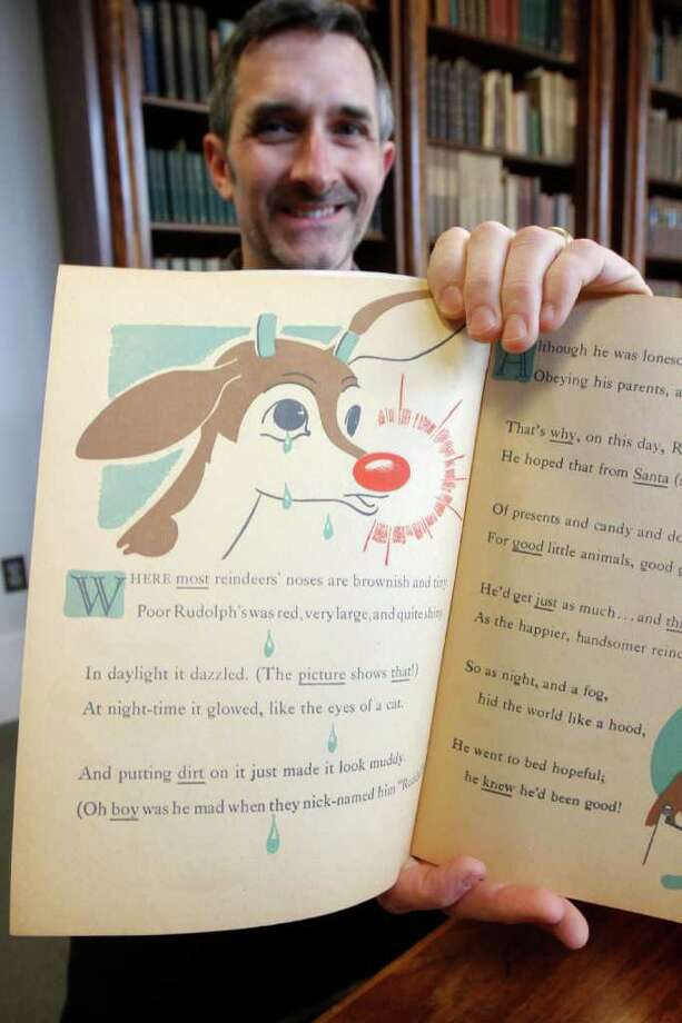 CreationIn 1939, Robert L. May, an ad man with the retail giant Montgomery Ward, got an assignment: Write a Christmas children's book that our stores can distribute. He wrote the story of the ninth reindeer, an outcast with a bright red nose. Photo: Toby Talbot / AP