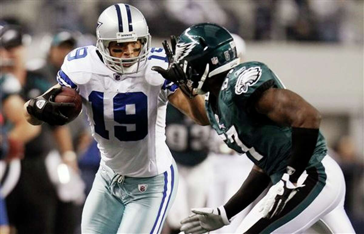 Dallas Cowboys wide receiver Miles Austin (19) runs against Philadelphia Eagles linebacker Keenan Clayton (57) during the first half of an NFL football game, Saturday, Dec. 24, 2011, in Arlington, Texas. (AP Photo/Brandon Wade)
