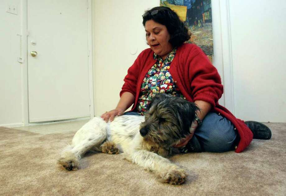 HELEN L. MONTOYA : SAN ANTONIO EXPRESS-NEWS LUCK AND INTERNET: Belinda Gutierrez, of San Antonio, was reunited with her blind dog Stevie Oedipus Wonder after a volunteer at the city's animal shelter found a Craigslist ad looking for the dog. The cairn terrier mix wandered off in November. Photo: HELEN L. MONTOYA / © 2011 San Antonio Express-News