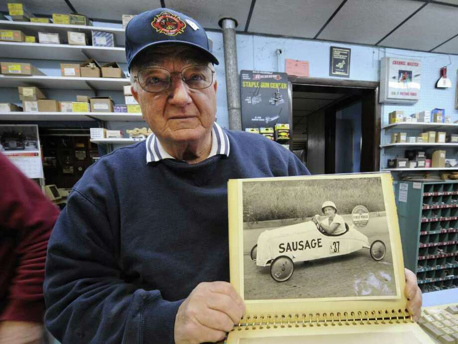Al Miller, a master carpenter who turns 80 on Christmas Day shows off his first project, a soapbox racing,  his shop in Albany, N.Y. Dec. 23, 2011.     (Skip Dickstein/Times Union) Photo: Skip Dickstein / 00015886A