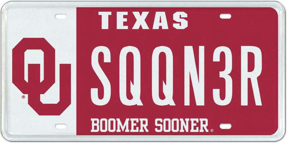 The OU plate became available last year. Nearly 30 out-of-state university plates are now available as Texas license plates. That's because of legislative action several years ago resulting in an exclusive franchise agreement with My Plates to more aggressively market specialized license plates. Photo: COURTESY PHOTO