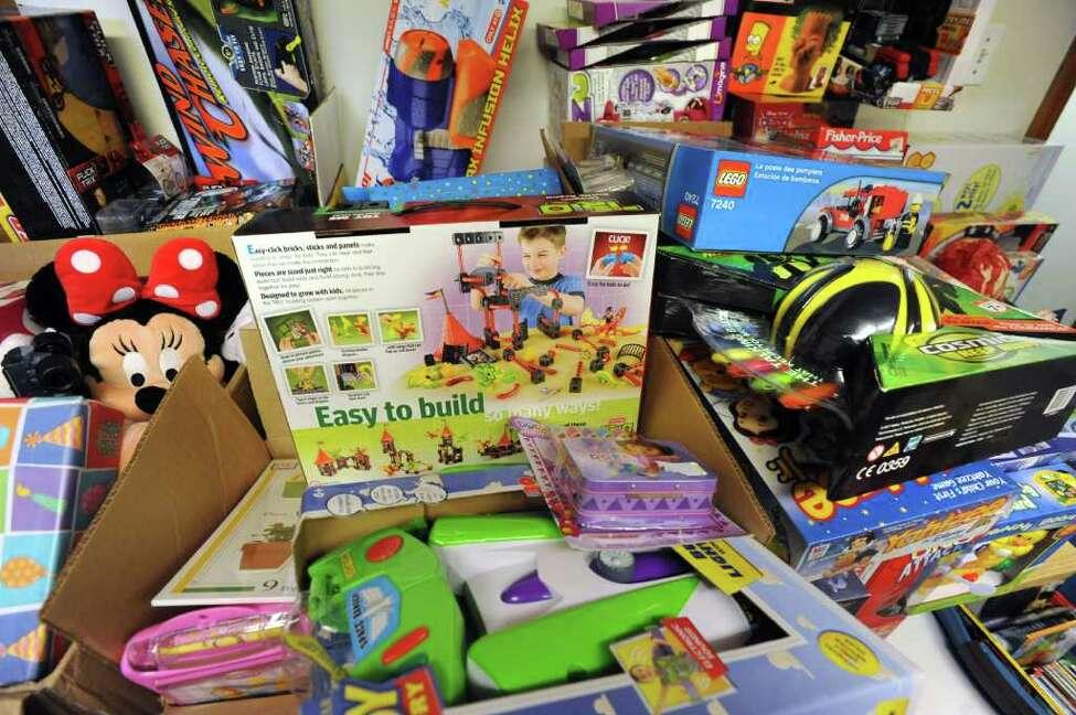 Toys for homeless children in the basement of Fazana Saleem-Ismail on Friday, Dec. 23, 2011 in Schenectady, N.Y. (Lori Van Buren / Times Union)