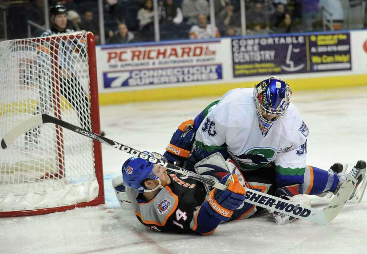 Sound Tiger Tyler McNeely gets temporarily pinned under Connecticut Whale goalie Chad Johnson during the second period of their AHL matchup at the Webster Bank Arena in Bridgeport on Monday, December 26, 2011.
