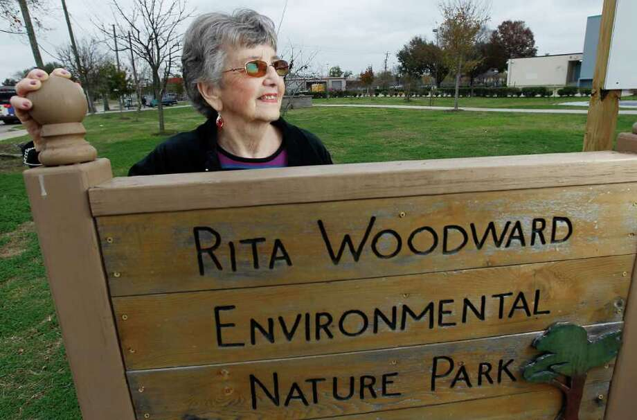 KAREN WARREN : CHRONICLE 'IT KEEPS ME GOING': Rita Woodward, 84, has worked tirelessly for decades to improve Westbury High School. A park in front of the southwest Houston school is named for her. Photo: Karen Warren / © 2011 Houston Chronicle