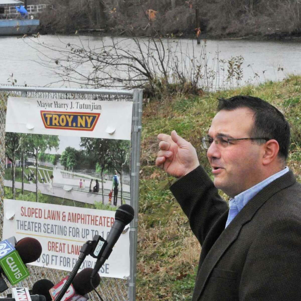 Troy Mayor Harry Tutunjian speaks during groundbreaking ceremonies for Troy Riverfront Park redevelopment Tuesday Dec. 27, 2011. (John Carl D'Annibale / Times Union)