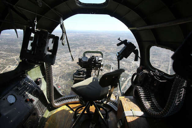 "This is another view from the bombadier's seat as the B-17 ""Aluminum Overcast"" flies over the Texas Hill Country Wednesday November 16, 2011. Photo: JOHN DAVENPORT, John Davenport / SAN ANTONIO EXPRESS-NEWS (Photo can be sold to the public)"