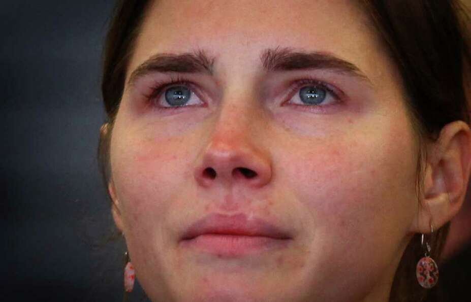 Seattle native Amanda Knox speaks during her return to the United States after her Italian murder co