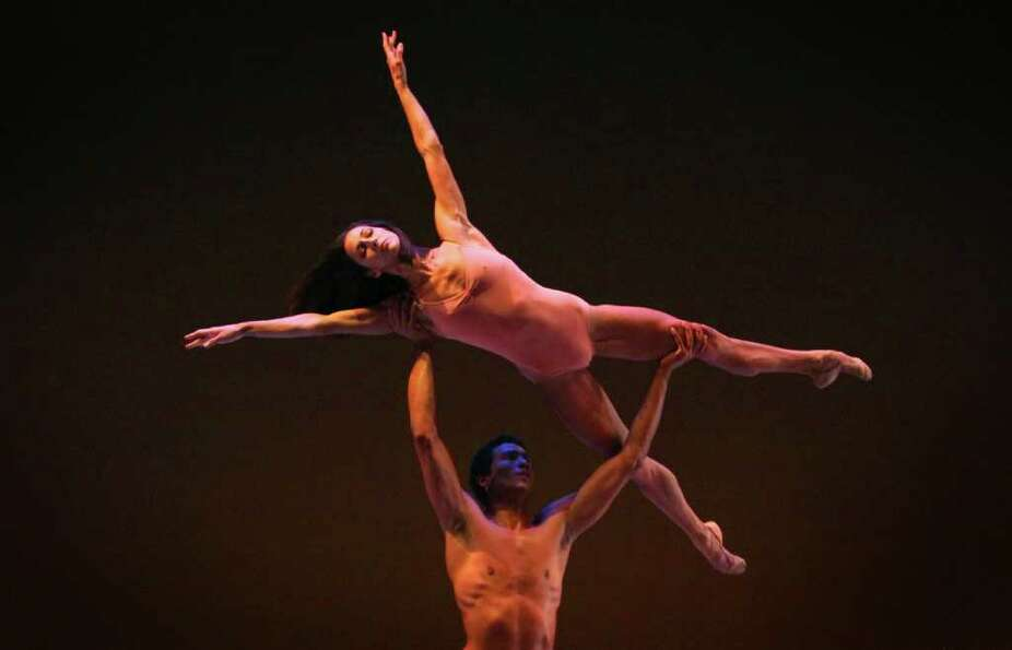 Maria Chapmand and Karel Cruz practice their performance of
