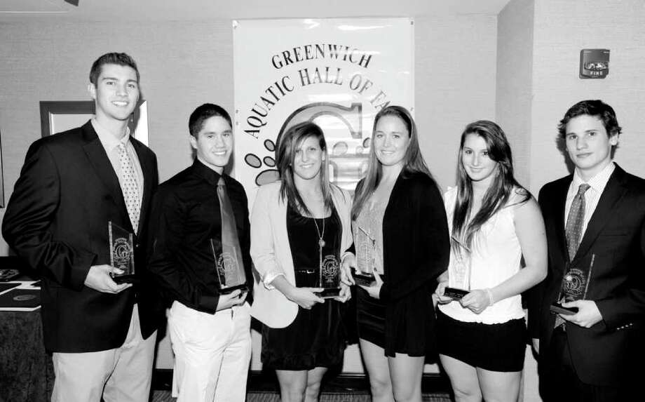 Six local swimmers, divers, and water polo stars were recently honored by the YWCA of Greenwich Aquatic Hall of Fame. From left are: Matthew Weber (water polo, GHS), Michael Dustin (swimming, GHS), Erin Calderoni (swimming GHS), Kristina Norrgard (water polo GHS), Amanda Molinelli (diving, Convent of the Sacred Heart) and Connor Brisson (diving, GHS). Photo: Bob Luckey / Greenwich Time
