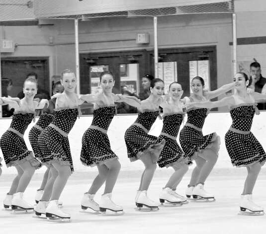The Skyliners Synchronized Skating Team's Intermediate line skated recently to selections from the Brian Setzer Orchestra.  The line, which  includes Jordyn Young of Greenwich and Marisa Goff of Old Greenwich, earned a silver medal in the Cape Cod Synchronized Skating Classic in Bourne, Mass. Photo: Contributed Photo