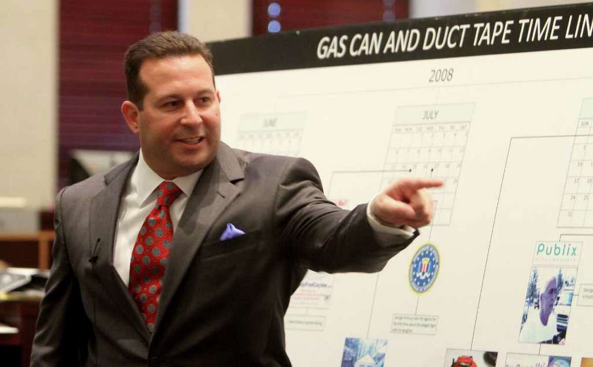 Jose Baez points and yells in the direction of the prosecution table during his closing arguments in the Casey Anthony murder trial in Orlando, Fla., Sunday, July 3, 2011. Judge Belvin Perry called a sidebar during the arguments to deal with the outburst. Anthony has plead not guilty to first-degree murder charges in the death of her daughter, Caylee, and could face the death penalty if convicted on the charge. (AP Photo/Red Huber, Pool)