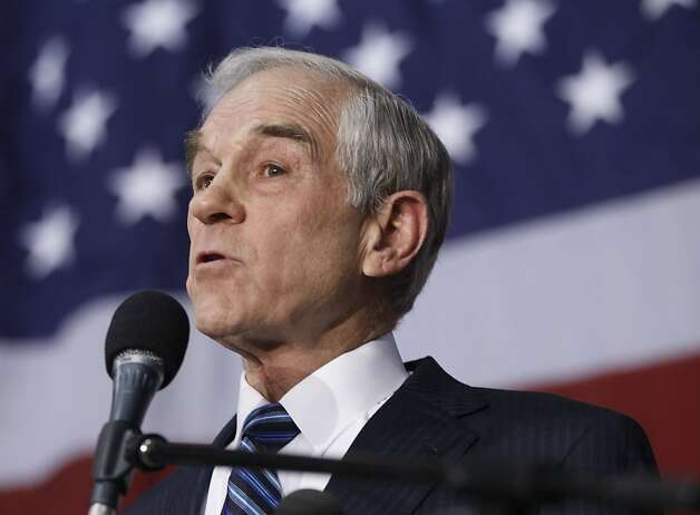 Republican presidential candidate, Rep. Ron Paul, R-Texas, campaigns during an event honoring veterans at the Iowa State Fair Grounds in Des Moines, Iowa, Wednesday, Dec. 28, 2011. (AP Photo/Charles Dharapak) Photo: Charles Dharapak, Associated Press