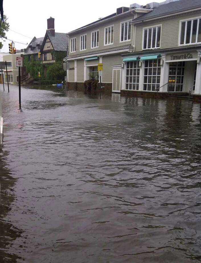 A view from Taylor Place, as Tropical Storm Irene caused the Saugatuck River to flood downtown Westport on Sunday, Aug. 28, 2011. Photo: Leigh Garrick / Westport News contributed
