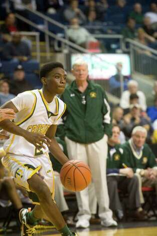 Trinity Catholic and Archbishop Molloy face off in the Northeast Basketball Christmas Classic at Harbor Yard's Webster Bank Arena in Bridgeport, Conn., December 28, 2011. Photo: Keelin Daly / Stamford Advocate