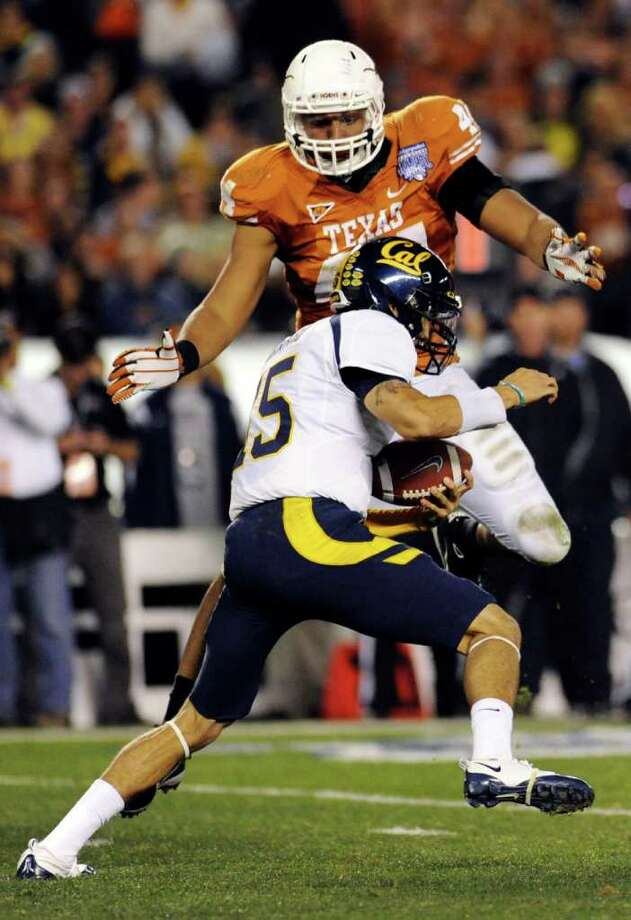 Texas defensive end Jackson Jeffcoat (44) prepares to sack Cal quarterback Zach Maynard (15) during the second quarter of the Holiday Bowl NCAA college football game, Wednesday, Dec. 28, 2011, in San Diego. (AP Photo/The Dallas Morning News, Elisabeth Dillon)  MANDATORY CREDIT; MAGS OUT; TV OUT; AP MEMBERS ONLY Photo: Elisabeth Dillon, Associated Press / The Dallas Morning News