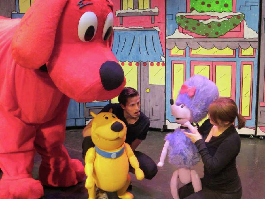 Clifford the Big Red Dog and friends come to the Palace Theater in Waterbury on Saturday, Jan. 7, for two performances of a new 50th anniversary musical in honor of the pup. Above is a photo from rehearsal. Photo: Contributed Photo