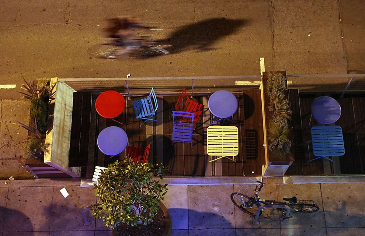 An overhead view of the parklet in front of Quetzal Cafe, 1234 Polk St. in San Francisco, Calif., on Wednesday, December 21, 2011.