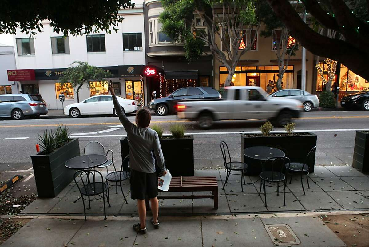 The parklet in front of Arlequin, 384 Hayes St. in San Francisco, Calif., on Wednesday, December 21, 2011.