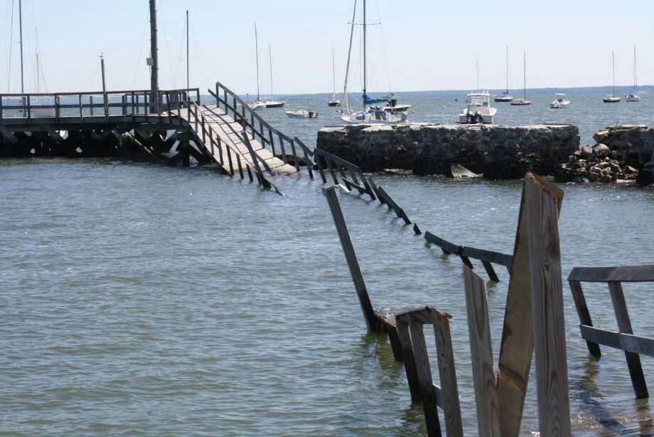 The pier at the Noroton Yacht Club was completely destroyed by Tropical Storm Irene. Photo: Ben Holbrook