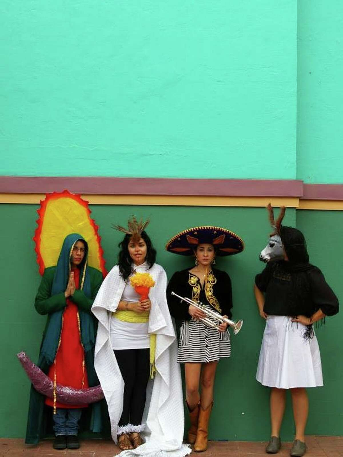 Members of the arts collective Más Rudas are, from left, Sarah Castillo, Mari Hernandez, Kristin Gamez, Ruth Buentello.