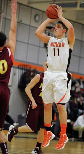 Grant Massaroni of Mohonasen takes a jump shop against Bishop-Gibbons during the Kirvin Cup boys' ba
