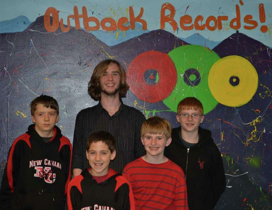 Outback recording studio manager Tommy Higbie with students, from left, Charlie Rhodes, Dereck Perrone, Tim Walsh and Will Duplock. Photo: Contributed Photo