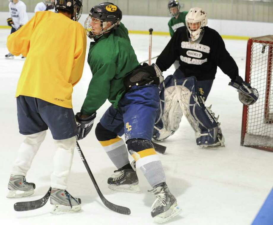 Mike Mineau practices with the Colonie/Shaker hockey team on the Albany County Hockey Facility rink on Tuesday, Dec. 27, 2011 in Albany, N.Y. (Lori Van Buren / Times Union) Photo: Lori Van Buren