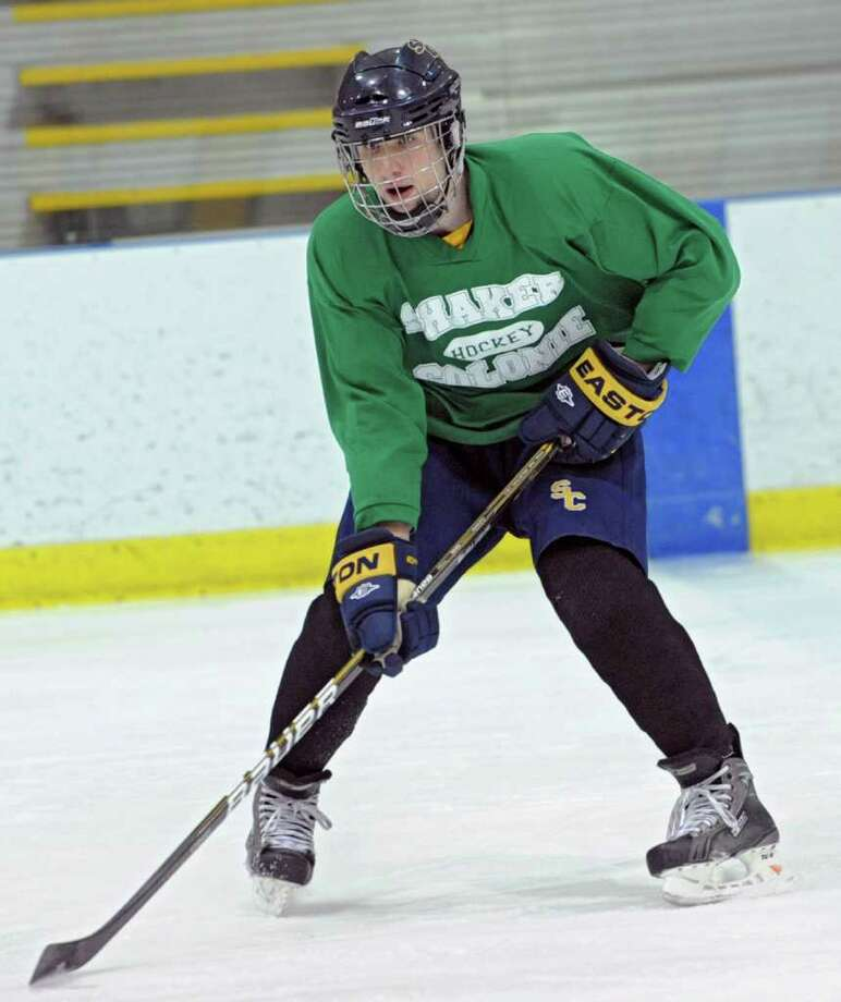 Eric Egan skates with the Colonie/Shaker hockey team as they practice on the Albany County Hockey Facility rink on Tuesday, Dec. 27, 2011 in Albany, N.Y. (Lori Van Buren / Times Union) Photo: Lori Van Buren