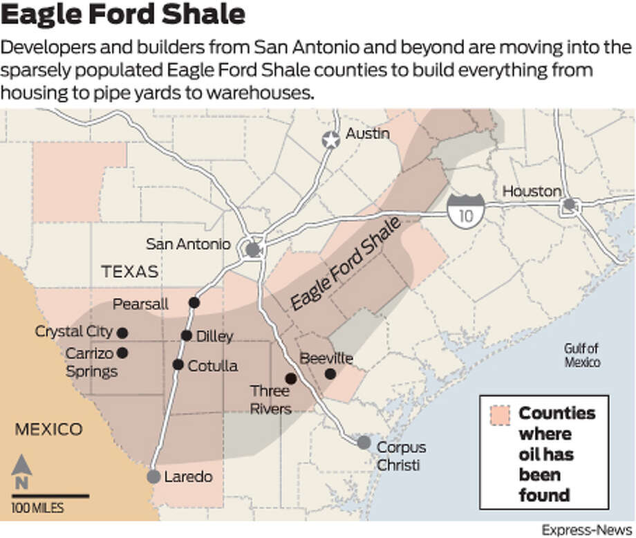 Developers and builders from San Antonio and beyond are moving into the sparsely populated Eagle Ford Shale counties to build everything from housing to pipe yards to warehouses.