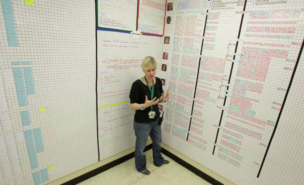 Campus improvement coordinator Brandi Brevard has turned one of Sharpstown's classrooms into a data room, with magnetized walls covered with information about the academic progress of every student.