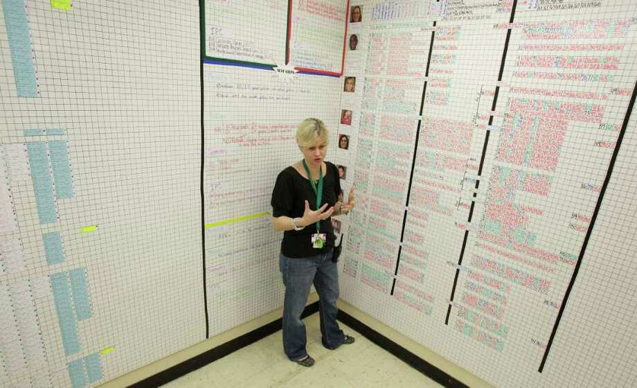 Campus improvement coordinator Brandi Brevard has turned one of Sharpstown's classrooms into a data room, with magnetized walls covered with information about the academic progress of every student. Photo: Melissa Phillip / © 2011 Houston Chronicle