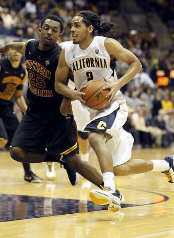 Cal's Jorge Gutierrez, (2) dtrives past, USC's Byron Wesley, (25) in the second half, as the California Golden Bears go on to beat the USC Trojans 53-49, at Haas Pavilion on the UC Berkeley campus on Thursday December 29, 2011 in Berkeley, Ca. Photo: Michael Macor, The Chronicle