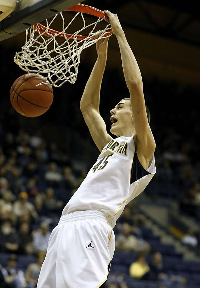 Cal's David Kravish, (45) dunks in the first half, as the California Golden Bears take on the USC Trojans at Haas Pavilion on the UC Berkeley campus on Thursday December 29, 2011 in Berkeley, Ca. Photo: Michael Macor, The Chronicle