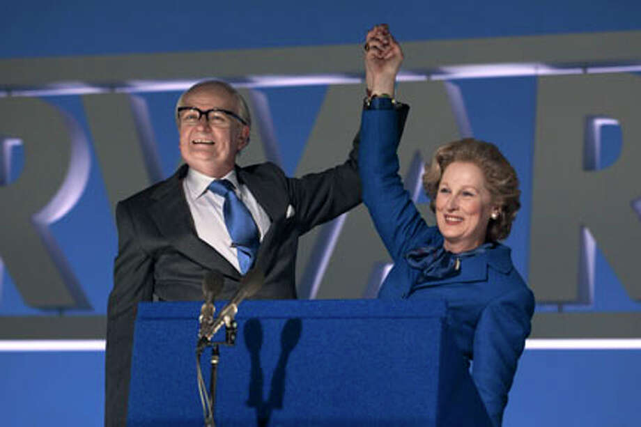 "Jim Broadbent as Denis Thatcher and Meryl Streep as Margaret Thatcher in ""The Iron Lady."""