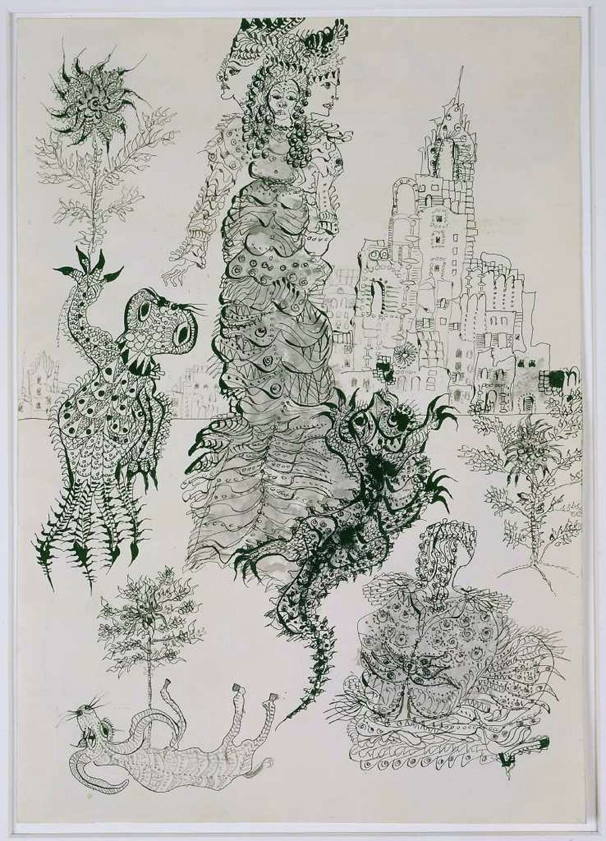 Unica Zürn, a Surrealist writer who was diagnosed as a schizophrenic, created ink drawings such as Untitled (1960-1961) when she was hospitalized.