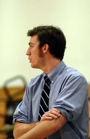 Darien boys basketball coach Kyle Marian during the LaVista Memorial basketball tournament against Greenwich at Darien High School on Thursday, Dec. 29, 2011. Photo: Amy Mortensen / Connecticut Post Freelance