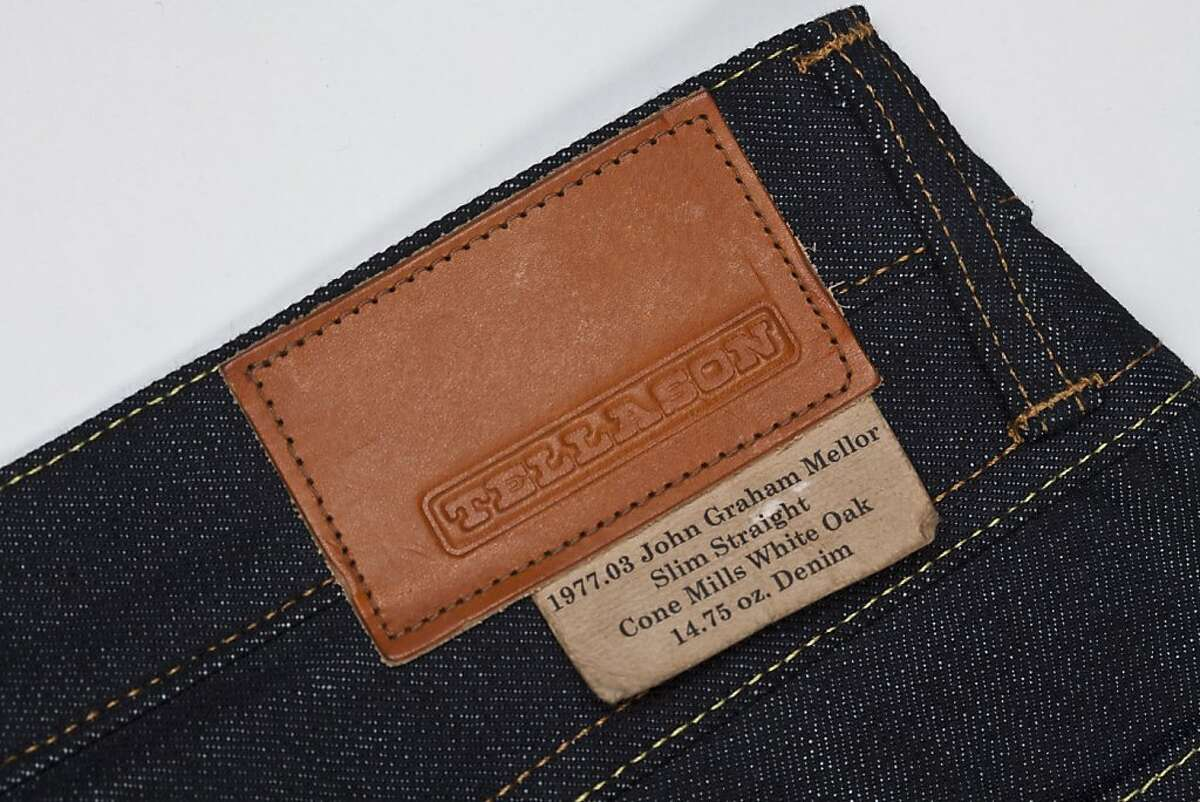 The leather patch of a pair of Tellason Denim is seen on Monday, Oct. 31, 2011 in San Francisco, Calif.