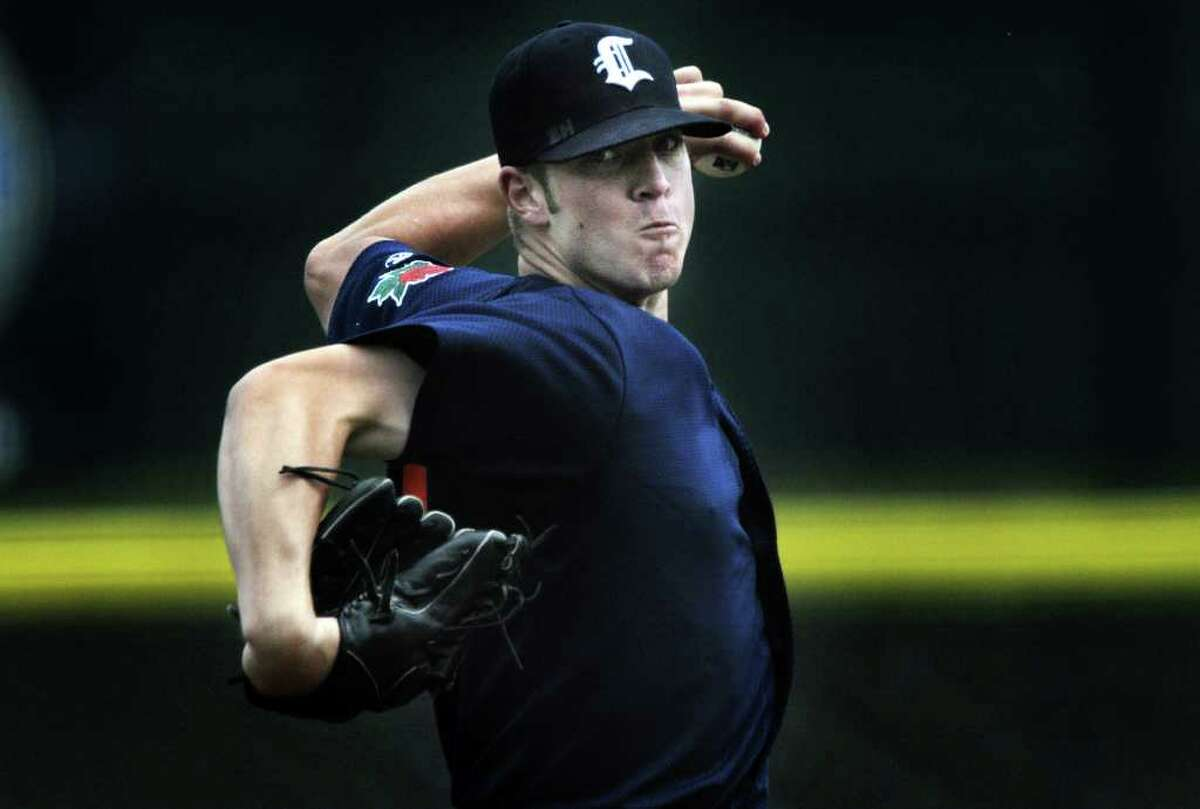 Connecticut Tigers pitcher Tyler Barrett delivers a pitch against the Tri-City ValleyCats during their baseball game at the Joseph L. Bruno Stadium on Wednesday, July 20, 2011 in Troy. (Paul Buckowski / Times Union)