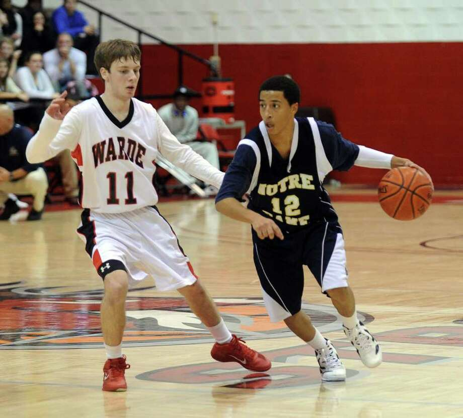 Highlights from boys basketball action between Notre Dame of Fairfield and Fairfield Warde at the Fairfield Prep Holiday Classic at Fairfield University in Fairfield, Conn. on Friday December 30, 2011. Photo: Christian Abraham / Connecticut Post