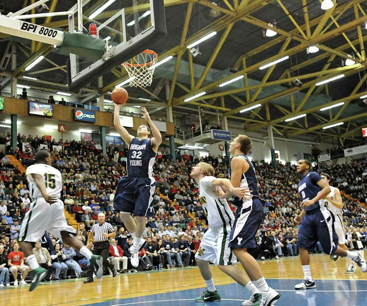 BYU's Jimmer Fredette, a graduate of Glens Falls, goes up for a lay-up during a sold out basketball game against Vermont at the Glens Falls Civic Center in Glens Falls, NY. (Lori Van Buren / Times Union)