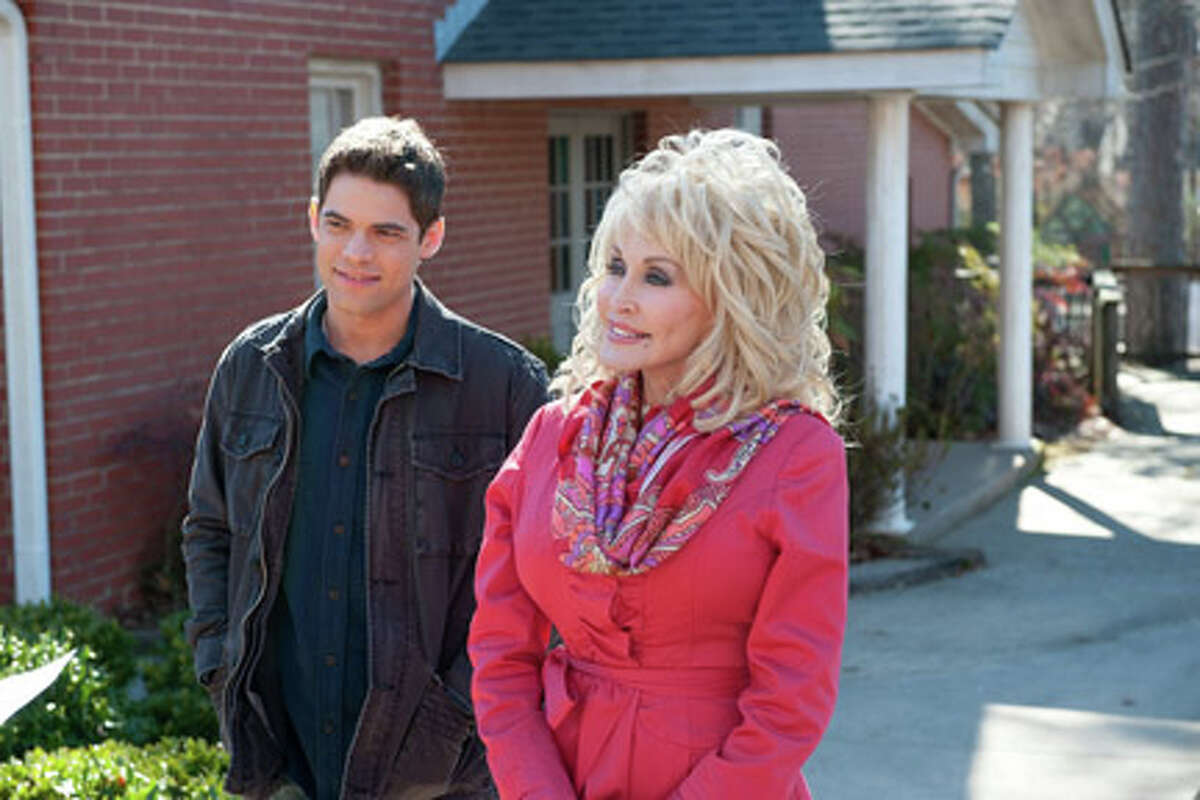Jeremy Jordan as Randy Garrity and Dolly Parton as G.G. Sparrow in