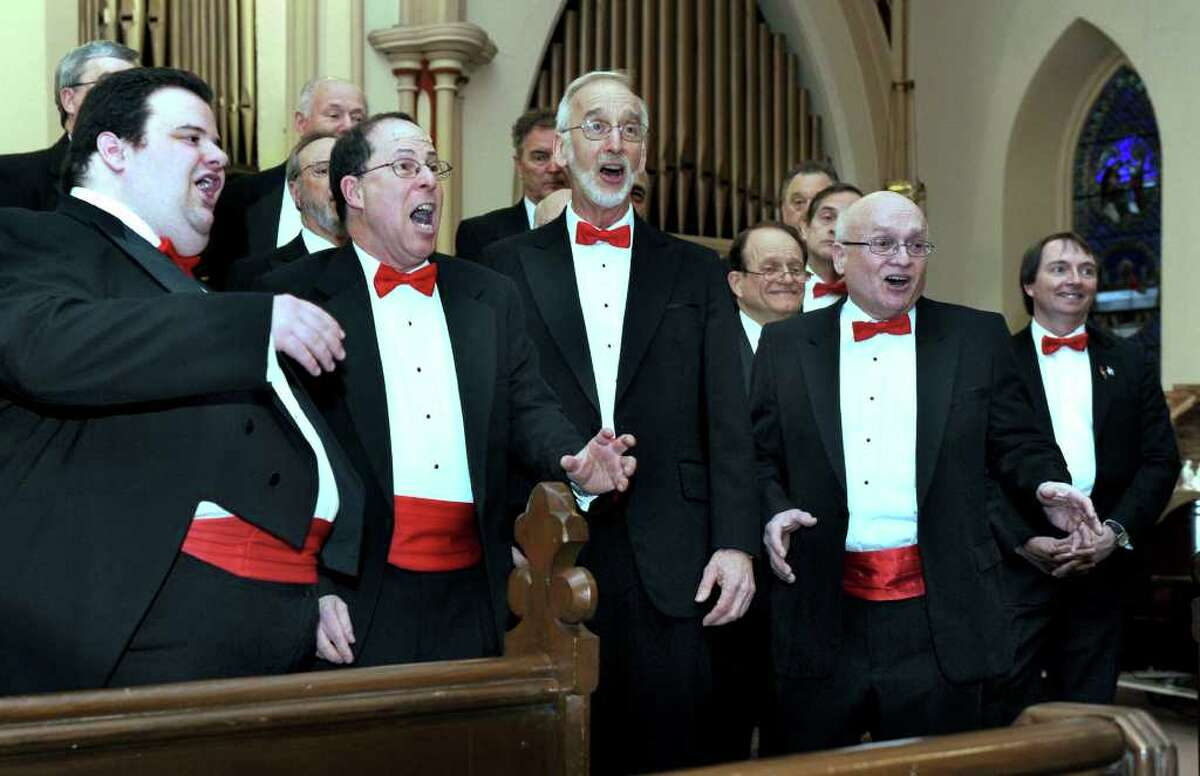 The Mad Hatters Barbershop Chorus performs for an audience at St. James Episcopal Church in Danbury during First Night Danbury Saturday. Photo taken Saturday, Dec. 31, 2011.