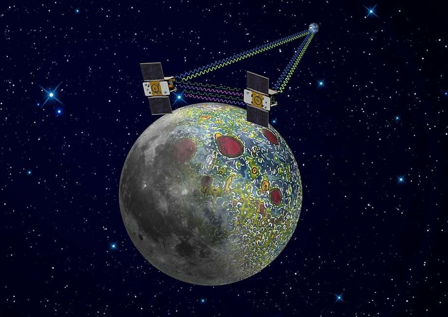 This undated artist rendering provided by NASA on  Dec. 21,2011 shows the twin Grail spacecraft mapping the lunar gravity field. The two probes are scheduled to enter orbit around the moon over New Year's weekend. Photo: NASA, Jet Propulsion Laboratory, Associated Press