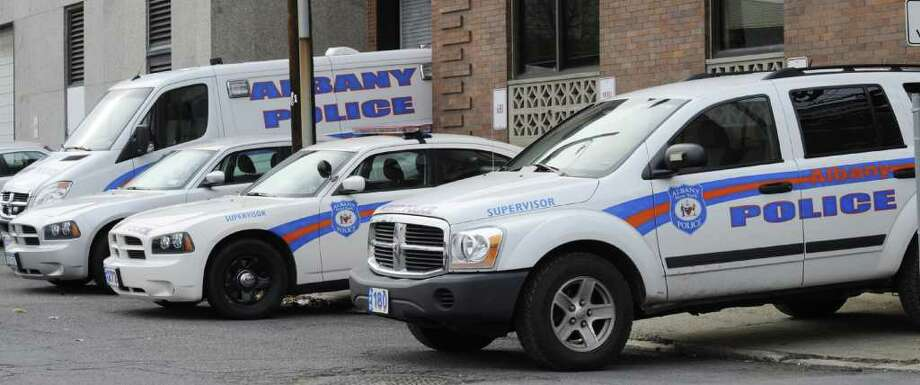 Police vehicles site outside the South Station in Albany, N.Y. Dec. 30, 2011. ( Skip Dickstein/Times Union) Photo: Skip Dickstein / 2011