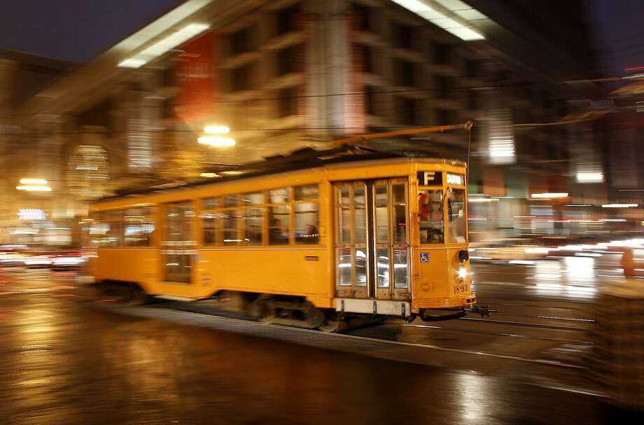 An Italian streetcar moves up Market Street, on Friday December 30, 2011 in San Francisco, Ca. Photo: Michael Macor, The Chronicle