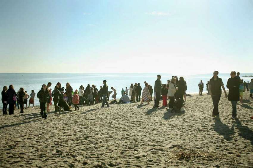 Participants linger at Compo Beach in Westport following the annual Polar Plunge on Sunday, January 1, 2012. The event raised money for The Hole in the Wall Gang Camp.