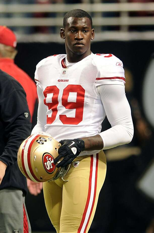 San Francisco 49ers linebacker Aldon Smith warms up before the start of an NFL football game between the St. Louis Rams and the San Francisco 49ers  Sunday, Jan. 1, 2012, in St. Louis. (AP Photo/L.G. Patterson) Photo: L.G. Patterson, Associated Press