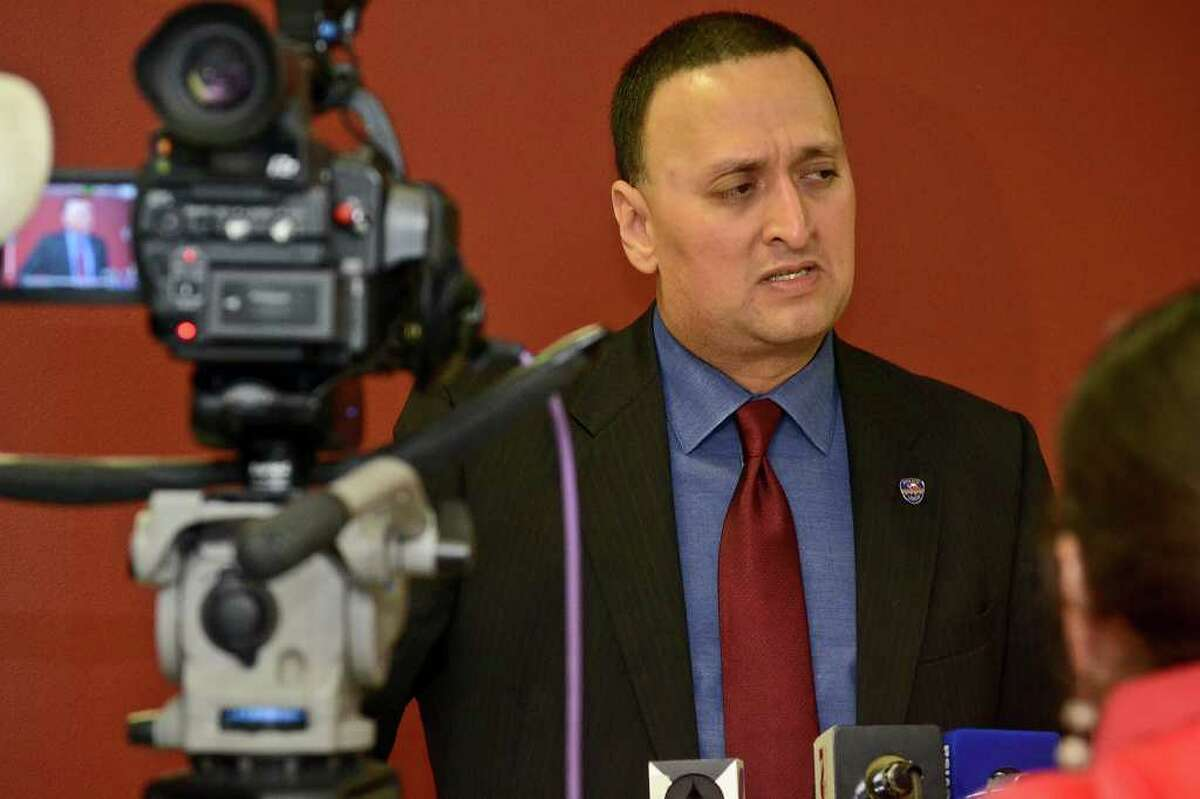 Laredo Police Department Public Information Officer, Joe E. Baeza, speaks about the hostage situation from the night before and gives the media details about those involed, during a press conference held at the Laredo Police Department, Tuesday afternoon.